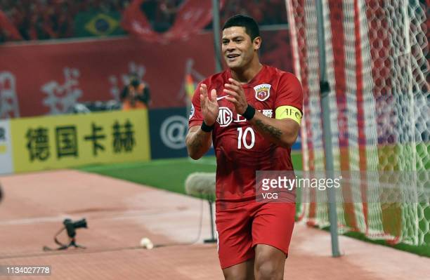 Hulk of Shanghai SIPG celebrates his team's first goal from the penalty spot during the AFC Champions League Group H match between Shanghai SIPG and...