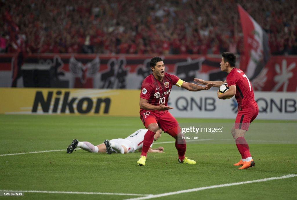 Hulk #10 of Shanghai SIPG celebrates scoring his team's goal during the AFC Champions League Round of 16 match between Shanghai SIPG v Kashima Antlers at the Shanghai Stadium on May 16, 2018 in Shanghai, China.