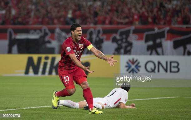 Hulk of Shanghai SIPG celebrates scoring his team's goal during the AFC Champions League Round of 16 match between Shanghai SIPG v Kashima Antlers at...