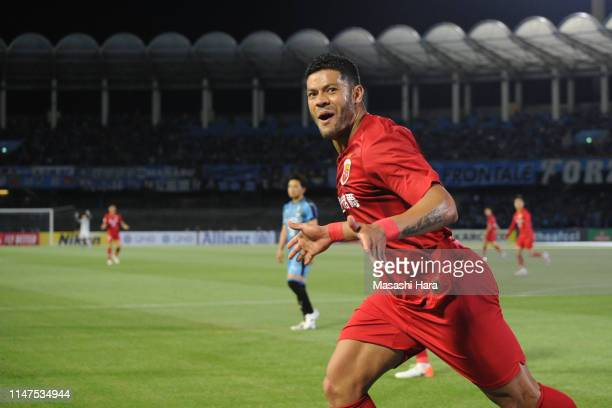 Hulk of Shanghai SIPG celebrates the second goal during the AFC Champions League Group H match between Kawasaki Frontale and Shanghai SIPG at...