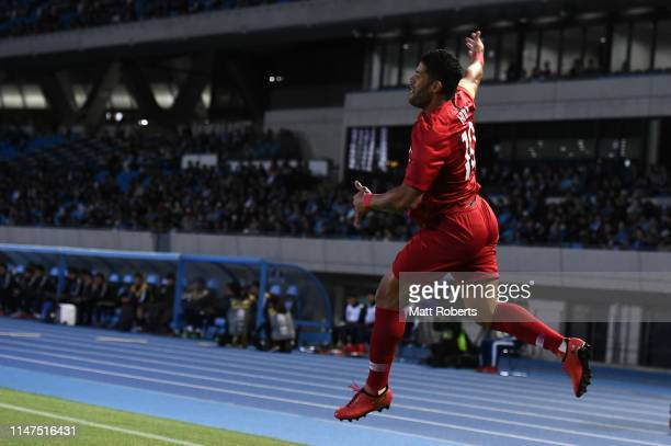 Hulk of Shanghai SIPG FC celebrates scoring a goal during the AFC Champions League Group H match between Kawasaki Frontale and Shanghai SIPG at...