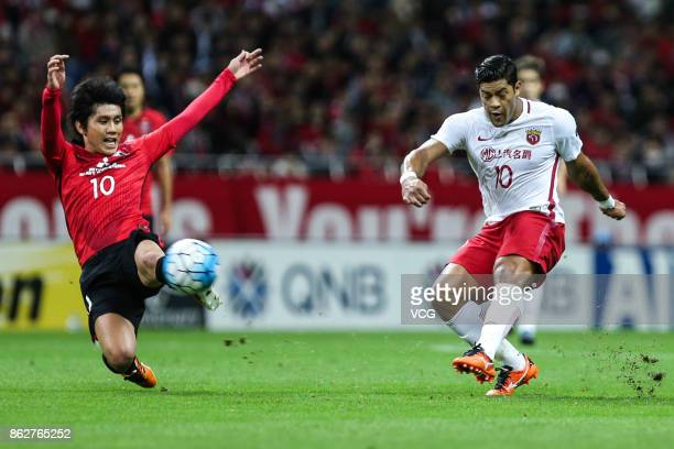 Hulk of Shanghai SIPG kicks the ball during the AFC Champions League semi final second leg match between Urawa Red Diamonds and Shanghai SIPG at...