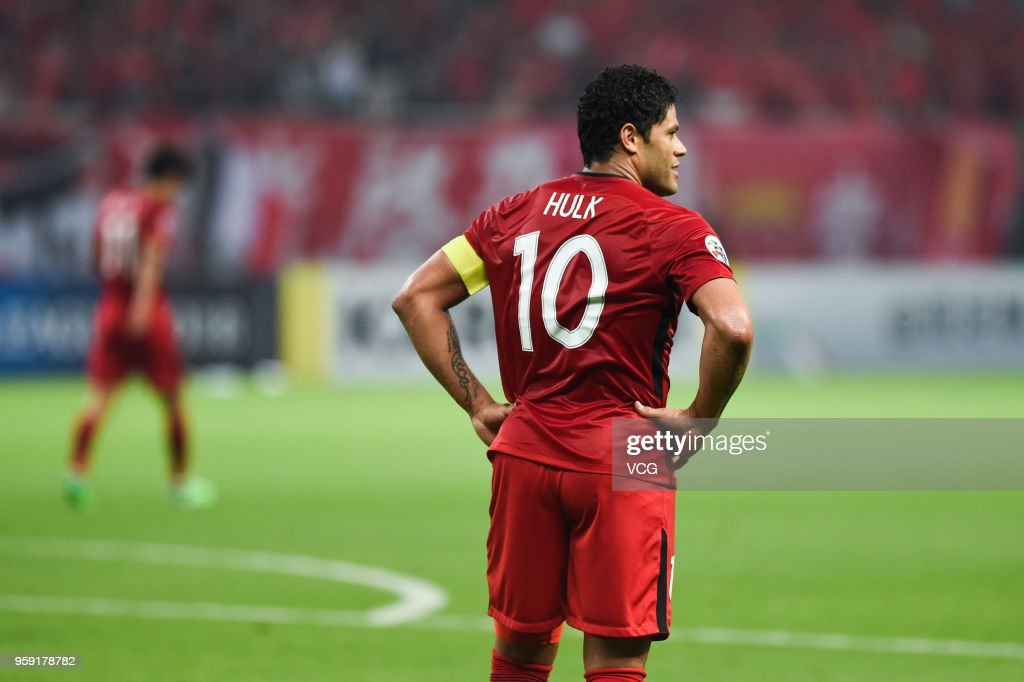 Hulk #10 of Shanghai SIPG reacts during the AFC Champions League Round of 16 second leg match between Shanghai SIPG and Kashima Antlers at Shanghai Stadium on May 16, 2018 in Shanghai, China.