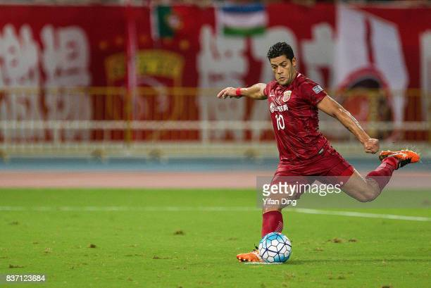 Hulk of Shanghai SIPG takes a penalty shot and scores the 1st goal during the AFC Champions League 2017 Quarterfinals 1st leg between Shanghai SIPG...