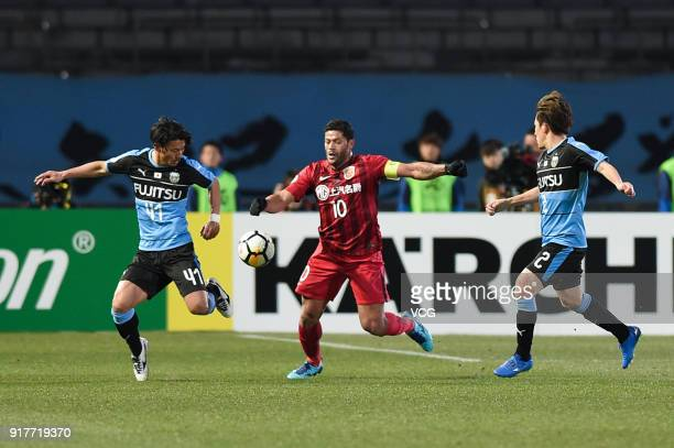 Hulk of Shanghai SIPG vies for the ball during the 2018 AFC Champions League Group F match between Kawasaki Frontale and Shanghai SIPG at Todoroki...