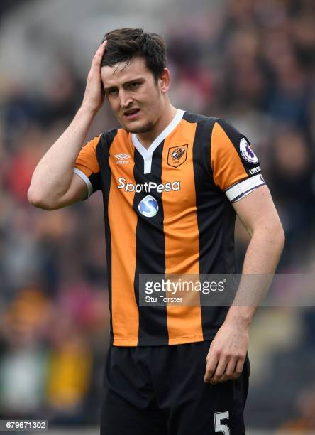 Hull captain Harry Maguire reacts during the Premier League match between Hull City and Sunderland at KCOM Stadium on May 6 2017 in Hull England