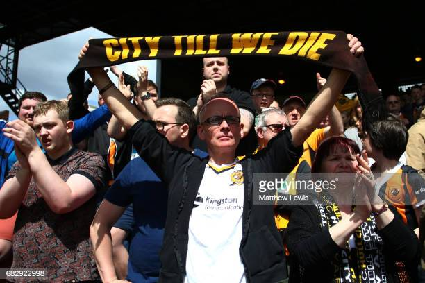 Hull City fan is seen after his team relegated to the Championship after the Premier League match between Crystal Palace and Hull City at Selhurst...