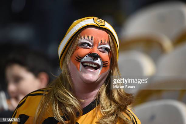 Hull City fan smiles prior to the Emirates FA Cup Fifth Round Replay match between Hull City and Arsenal at KC Stadium on March 8 2016 in Hull England