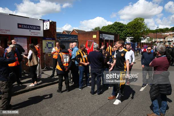 Hull City fans arrive at the stadium prior to the Premier League match between Crystal Palace and Hull City at Selhurst Park on May 14 2017 in London...