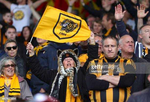 Hull City fans have mixed emotions after the Premier League match between Crystal Palace and Hull City at Selhurst Park on May 14 2017 in London...