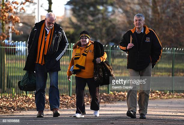 Hull City fans make their way to the stadium prior to the Premier League match between Hull City and AFC Bournemouth at KCOM Stadium on January 14...
