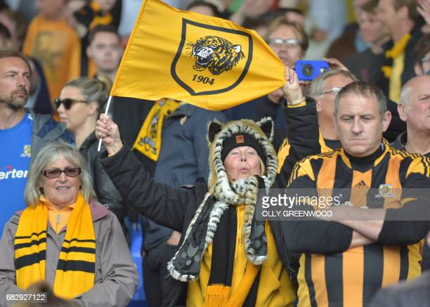 Hull City fans react at the close of the English Premier League football match between Crystal Palace and Hull City at Selhurst Park in south London...