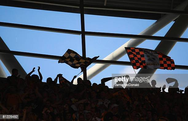 Hull City fans support their team during the Coca Cola Championship Playoff Final match between Hull City and Bristol City at Wembley Stadium on May...