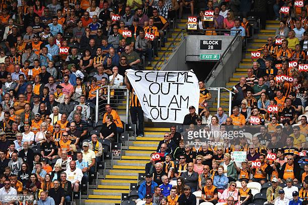 Hull City fans use banners to protest against the owners during the Premier League match between Hull City and Leicester City at KCOM Stadium on...