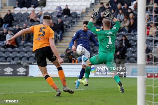 Hull City goalkeeper George Long blocks Brentford's Said Benrahma shot Hull City v Brentford Sky Bet Championship KCOM Stadium