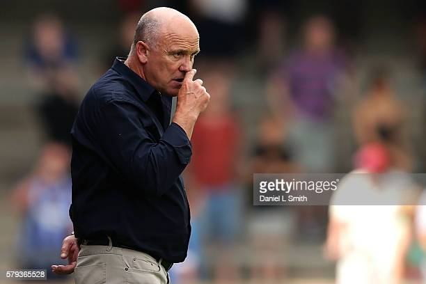 Hull City interim manager Mike Phelan gestures during the preseason friendly between Scunthorpe United and Hull City at Glanford Park on July 23 2016...