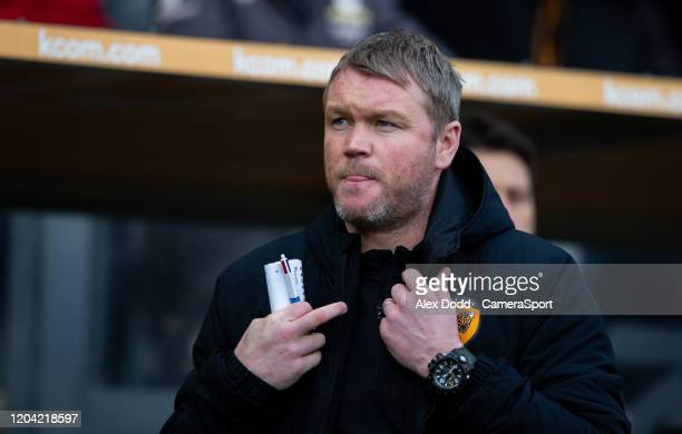 Hull City manager Grant McCann during the Sky Bet Championship match between Hull City and Leeds United at KCOM Stadium on February 29, 2020 in Hull,...