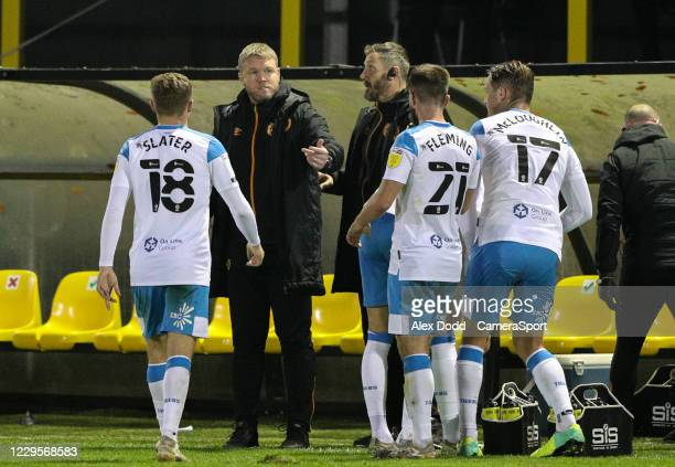Hull City manager Grant McCann gives instructions to his team during a break in play during the EFL Trophy Northern Group H match between Harrogate...