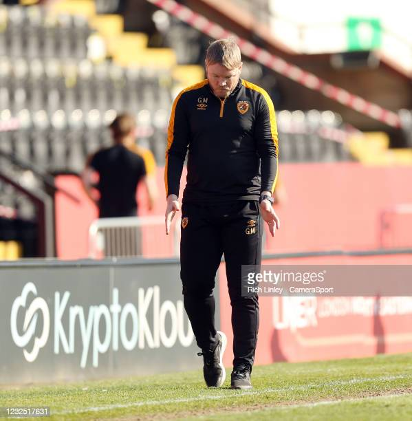 Hull City manager Grant McCann paces in his technical area during the Sky Bet League One match between Lincoln City and Hull City at Sincil Bank...