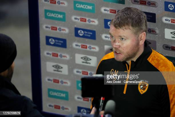 Hull City manager Grant McCann speaks to the media after the match during the Sky Bet League One match between Hull City and Peterborough United at...