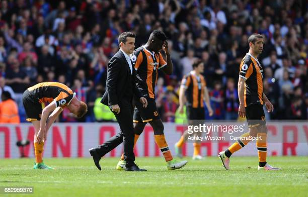 Hull City manager Marco Silva goes over to the away fans after the Premier League 40 defeat to Crystal Palace at Selhurst Park on May 14 2017 in...