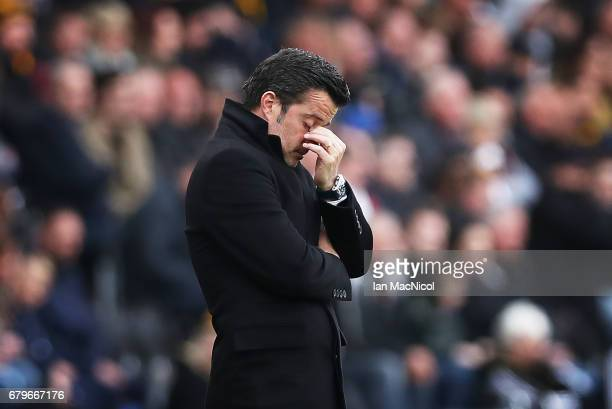 Hull City manager Marco Silva reacts during the Premier League match between Hull City and Sunderland at KCOM Stadium on May 6 2017 in Hull England