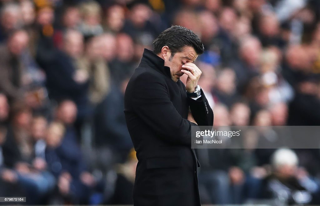 Hull City manager Marco Silva reacts during the Premier League match between Hull City and Sunderland at KCOM Stadium on May 6, 2017 in Hull, England.