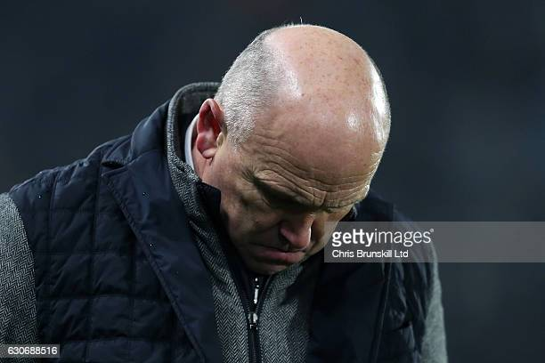 Hull City Manager Mike Phelan looks dejected during the Premier League match between Hull City and Everton at KC Stadium on December 30 2016 in Hull...