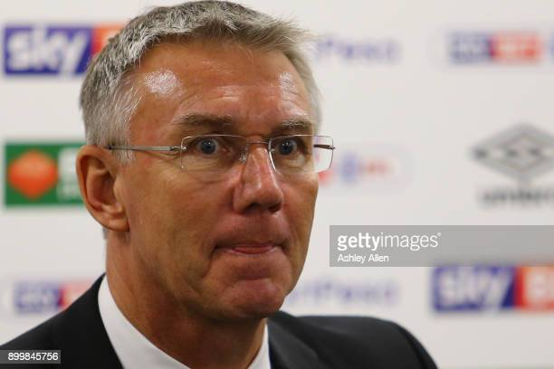 Hull City manager Nigel Adkins listens intently during the post match press conference during the Sky Bet Championship match between Hull City and...