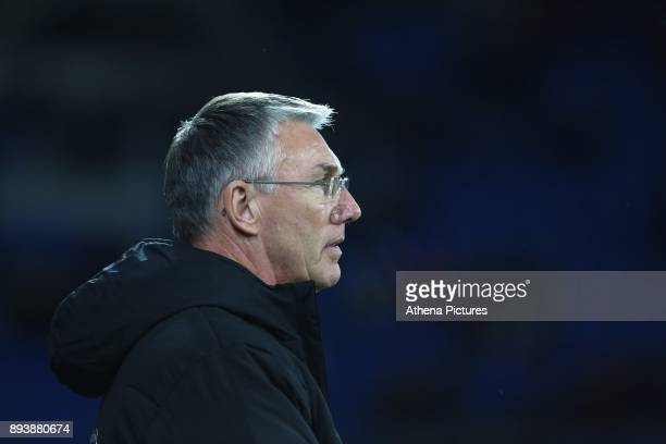 Hull City manager Nigel Adkins prior to kick off of the Sky Bet Championship match between Cardiff City and Hull City at the Cardiff City Stadium on...