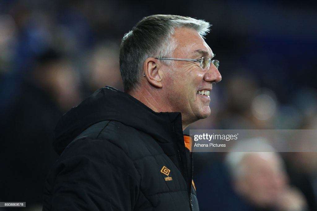 Hull City manager Nigel Adkins prior to kick off of the Sky Bet Championship match between Cardiff City and Hull City at the Cardiff City Stadium on December 16, 2017 in Cardiff, Wales.