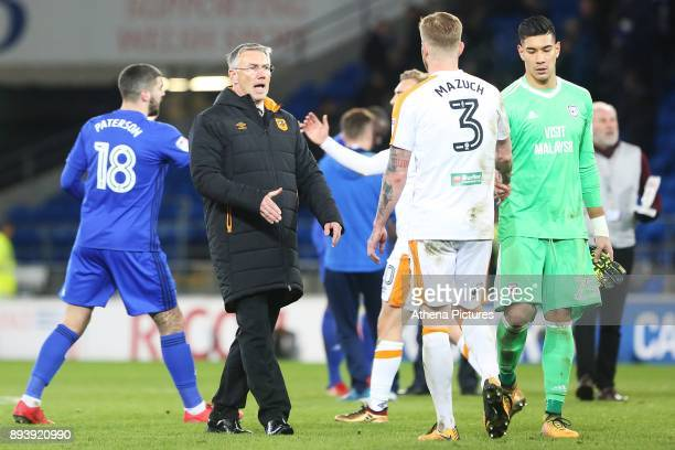 Hull City manager Nigel Adkins shakes hands with Ondrej Mazuch of Hull City after the final whistle of the Sky Bet Championship match between Cardiff...