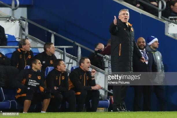 Hull City manager Nigel Adkins shouts directions at players during the Sky Bet Championship match between Cardiff City and Hull City at the Cardiff...