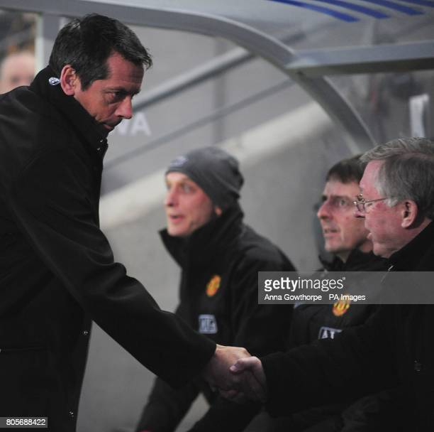 Hull City manager Phil Brown shakes hands with Manchester United manager Alex Ferguson prior to kick off
