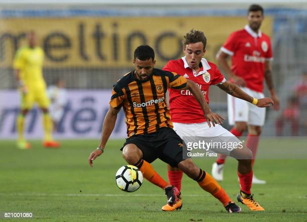 Hull City midfielder Kevin Stewart with Benfica's midfielder Andre Horta from Portugal in action during the Algarve Cup match between SL Benfica and...