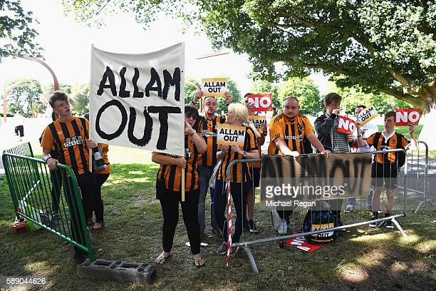 Hull City supporters protest outside the stadium prior to the Premier League match between Hull City and Leicester City at KCOM Stadium on August 13...