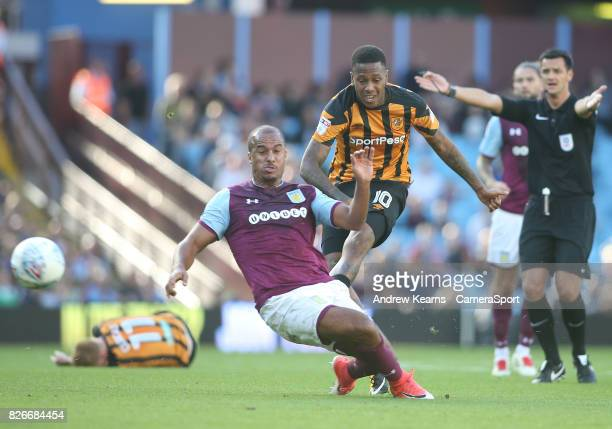 Hull City's Abel Hernandez shoots at goal during the Sky Bet Championship match between Aston Villa and Hull City at Villa Park on August 5, 2017 in...