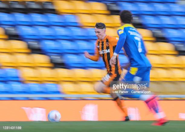 Hull City's Alfie Jones on the attack with the ball during the Sky Bet League One match between AFC Wimbledon and Hull City at on February 27, 2021...