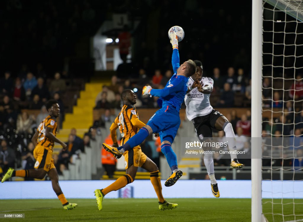 Hull City's Allan McGregor saves from Fulham's Sheyi Ojo during the Sky Bet Championship match between Fulham and Hull City at Craven Cottage on September 13, 2017 in London, England.