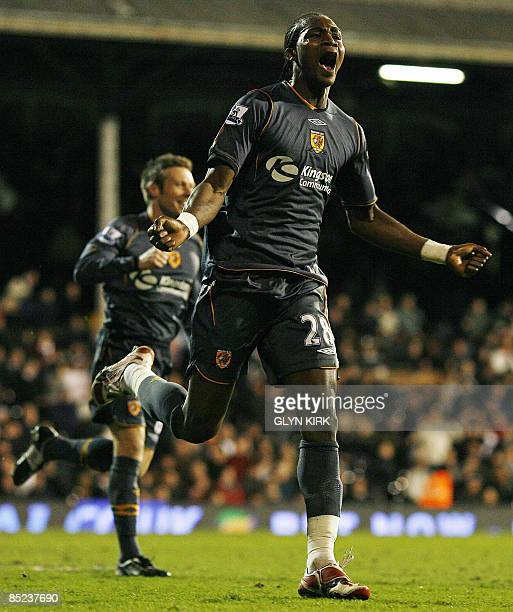 Hull City's Angolan striker Alberto Manucho celebrates scoring a goal during their Premier League match against Fulham at Craven Cottage London on...