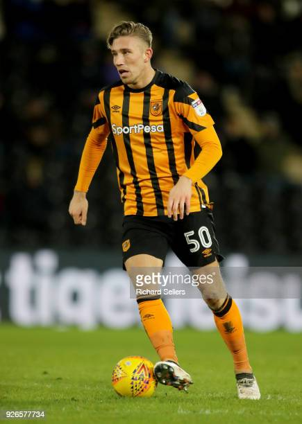 Hull City's Angus MacDonald during the Sky Bet Championship match between Hull City and Barnsley at KCOM on February 27 2018 in Hull England 'n'n