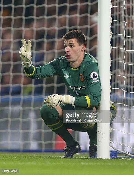 Hull City's Eldin Jakupovic during the Premier League match between Chelsea and Hull City at Stamford Bridge on January 22 2017 in London England