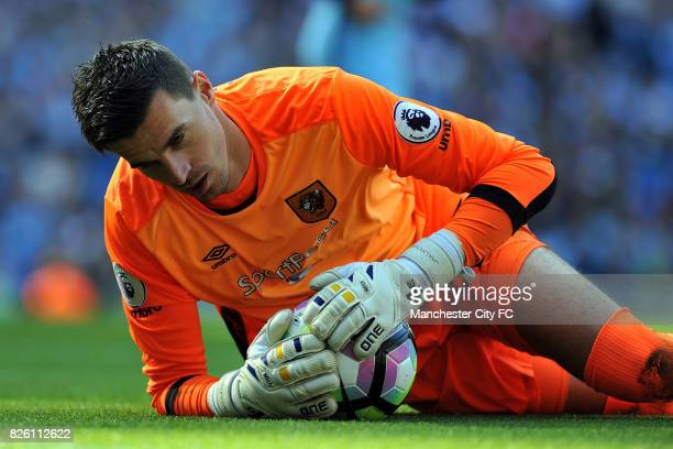Hull City's Eldin Jakupovic in action during the Barclay's Premiership match at the Etihad Stadium Manchester on 8th April 2017