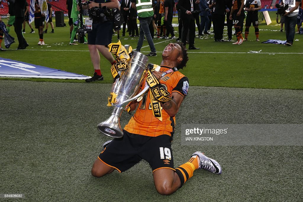 Hull City's English Striker Chuba Akpom Celebrates With