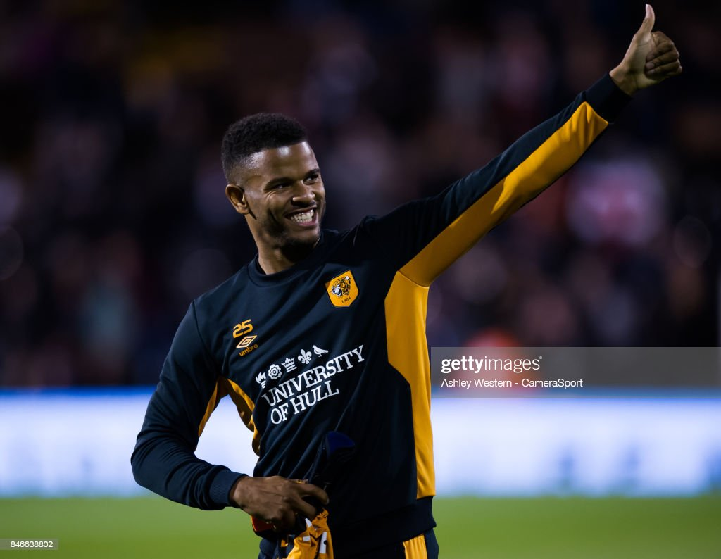 Hull City's Fraizer Campbell during the pre-match warm-up before the Sky Bet Championship match between Fulham and Hull City at Craven Cottage on September 13, 2017 in London, England.