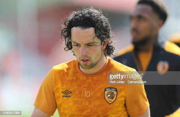 Hull City's George Honeyman during the pre-match warm-up during the Sky Bet League One match between Lincoln City and Hull City at Sincil Bank...