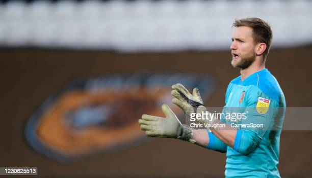 Hull City's George Long during the Sky Bet League One match between Hull City and Blackpool at KCOM Stadium on January 16, 2021 in Hull, England.