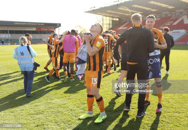 Hull City's Greg Docherty celebrates at the final whistle as his side are promoted to The Championship thanks to their victory during the Sky Bet...