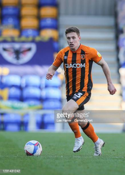 Hull City's Greg Docherty running with the ball during the Sky Bet League One match between AFC Wimbledon and Hull City at on February 27, 2021 in...