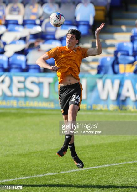 Hull City's Jacob Greaves heads the ball during the pre-match warm-up during the Sky Bet League One match between AFC Wimbledon and Hull City at on...